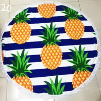 Printed Pineapples Sunbathe Round Beach Towel