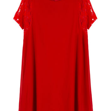 Red Lace Sleeves Keyhole Back Chiffon Dress