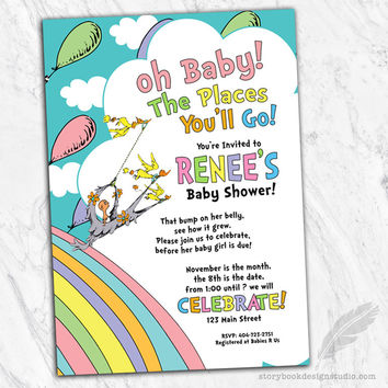 Oh The Places Baby Shower Invitations