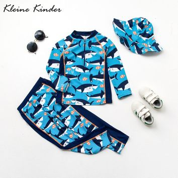 Toddler Boys Swimsuits Rash Guards 2-Piece Surfing Diving Suit Bathing Suit Sun Protection Long Sleeve Children Swimwear for Boy