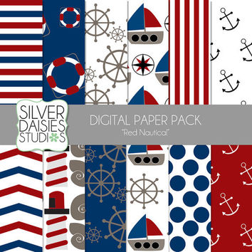 "Red Nautical Digital Paper 12 Pack- INSTANT DOWNLOAD - 12""x12"" Summer Ocean Nautical Themed Set - Digital Scrapbooking - Ships, lighthouse"