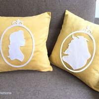 Beauty And The Beast Silhouette Yellow White Pillow Covers Set. Fairy Tale Inspired 16inch Cushion Covers. Engagement Gift.Girls Room Decor