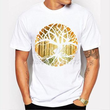 ONETOW New Design druid tree printed men's t-shirt O-neck Short sleeve cool tops