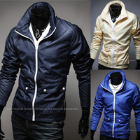 Trendy Men Fashion Slim Fit Zip Up Windbreaker Jacket