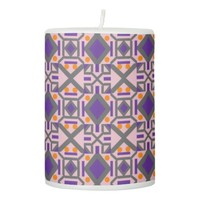 Diamonds and Dots with X's Pillar Candle
