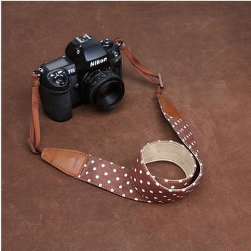 White dot Coffee Handmade Leather DSLR Camera Polka Dot Camera Strap 7175