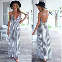 Stripe Plunging Backless Maxi Summer Dress