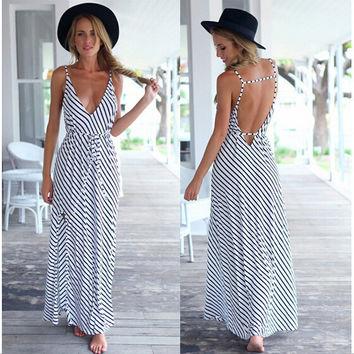 Stripe Cotton Sleeveless Spaghetti Strap Long Dress