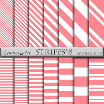 "Coral and white Horizontal Diagonal Stripes digital paper: ""Stripes*8"" Coral and white patterns, Instant Download"
