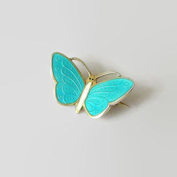 "Butterfly Pin, Teal Green & White Enamel, Norway Sterling, Aksel Holmsen, Basse-Taille Brooch Tiny, 7/8"" x 1/2"", Adorable!"