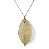 Golden Leaf Long Necklace  Yellow
