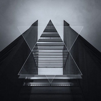 'The Hotel (experimental futuristic architecture photo art in modern black & white)' by badbugs