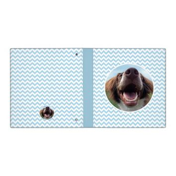 Happy Rescue Dog, Blue Chevron Vinyl Binder