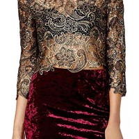 ROMWE Gold-tone Lace Embroidered Crop Sleeves Blouse