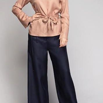 Kendall Cupro Tencel Pants in Navy