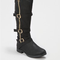 Black Buckled Knee High Boot