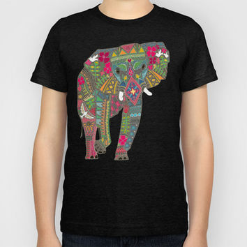 painted elephant aqua spot Kids T-Shirt by Sharon Turner