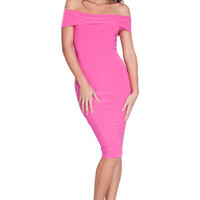 Vixen Off the Shoulder Midi Dress - Pink