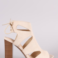 Wild Diva Lounge Cutout Back Lace-Up Chunky Heel