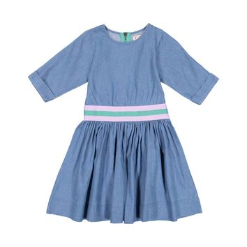 Teela Girls' Light Denim Waisted Band Dress