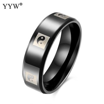 Vintage Stainless Steel Yin Ying Yang cool finger ring black color punk knuckles rings jewelry for men unisex