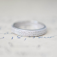 Micro Pave Wedding Band - Stacking Ring - Sterling Silver Ring - Cubic Zirconia Ring - Eternity Band
