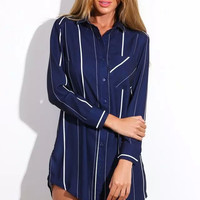 Navy Vertical Stripe Sleeve Button Collared Shirt Dress
