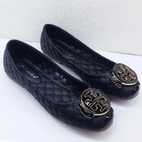 Tory Burch Trending Women Stylish Metal Round Buckle Bowknot Flat Single Shoes Black I12996-1