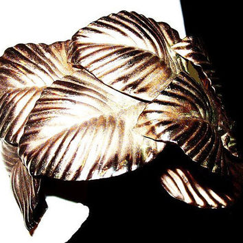 "Gold Leaf Cuff Bracelet Over Lapping Leaves Etched Curved Lines BIG 2"" Vintage"
