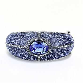Sapphire Blue 15CT Oval Cut Rhinestone Bangle Bracelet