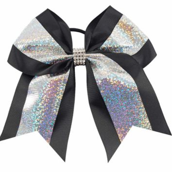 "7"" Hologram Chevron and Rhinestone Cheer Bows"