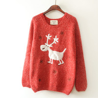 Red Snow Elk Loose Pullover Sweater