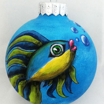 Christmas Ornament Christmas ball Hand Painted Bauble Glass New year Christmas Craft Fish Gift Magic Fairy Blue Yellow See Unique