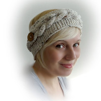Cable Hand Knitted Headband. 44 Colors. Coconut button. Ear Warmer. Head wrap. Hairband. Warm Accessory for Women and Teens.