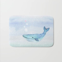 Whale Nautical  Bath Mat Watercolor Design Life Under the Sea Swimming Blue Whale Bath Rug Home Decor