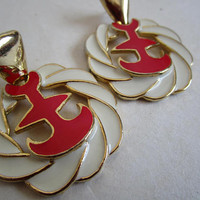 Vintage 80s Nautical Earrings Red Anchors White Rope Enamel Gold Tone 1980s Pierce Studded Earrings