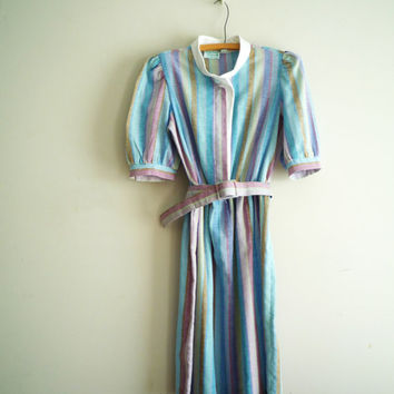 Vintage Striped Belted Day Dress, Summer House Dress