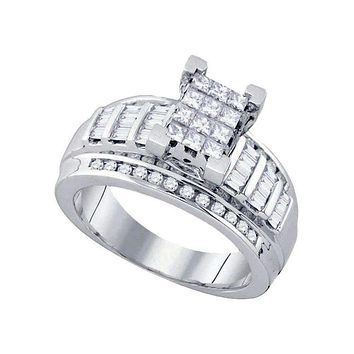 14kt White Gold Women's Princess Diamond Cindy's Dream Cluster Bridal Wedding Engagement Ring 7-8 Cttw - FREE Shipping (US/CAN)