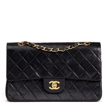 CHANEL BLACK QUILTED LAMBSKIN VINTAGE MEDIUM CLASSIC DOUBLE FLAP BAG HB598