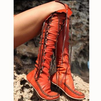 Fashion Show Thin Lace Up Type Knot Knee-High Flat Boots Orange