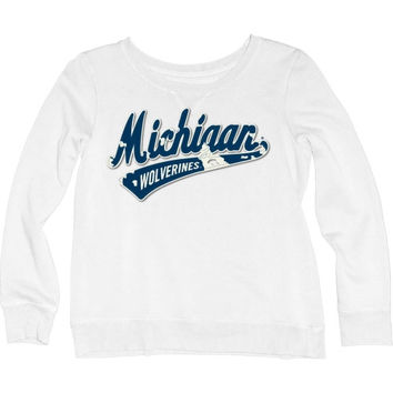 Michigan Wolverines Women's Beach Fleece Cozy Twill Crewneck Sweatshirt