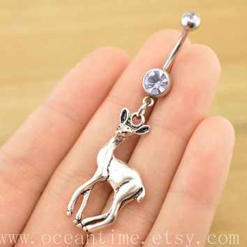 bellyring,belly button jewelry,little deer belly button rings, navel ring,piercing belly ring,friendship piercing bellyring,BFF gift