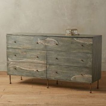 Handcarved Streamlet Six-Drawer Dresser by Anthropologie in Grey Size: Six-drawer Dresser Dresses