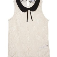 New Look Mobile | Teens White Lace Contrast Collar Shell Top