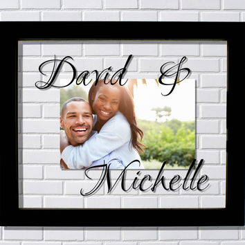 Personalized Couples Floating Picture Frame - Custom Names - Boyfriend Girlfriend Husband Wife Gift