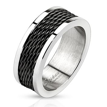 Multi Wire Inlay Black IP Stainless Steel Band Ring