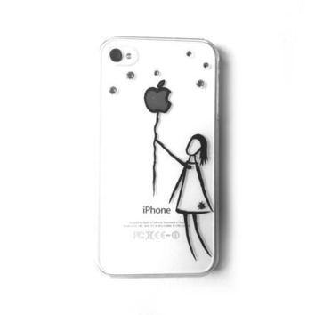 hand painted Swarovski crystals iphone case iphone 4 4S illustration case - Balloon 2