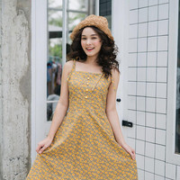 Mia - Sunflower Dress Cotton Dress Brown Tea Length Vintage Floral Dress Swing Dance Dress Spaghetti Strap Sundress Cocktail Party Dress