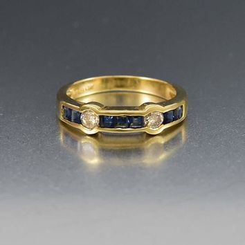 Channel Set Sapphire and Diamond 14K Gold Ring