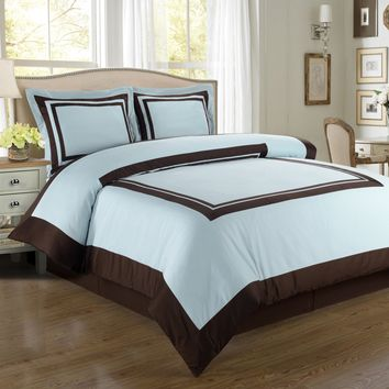 Hotel Blue/Chocolate Combed cotton Duvet Cover Set